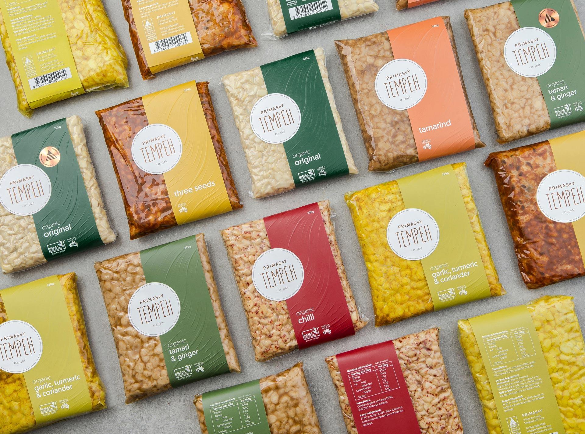 Primasoy tempeh packaging